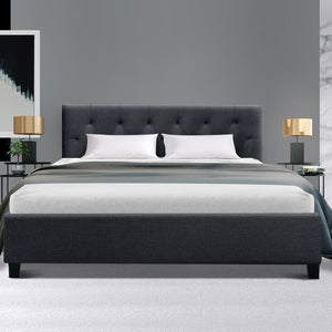 Artiss Double Full Size Bed Frame Base Mattress Fabric Wooden Charcoal VANKE (excl-Regional QLD & WA, FNQ, NT & WA Remote)