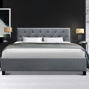 Artiss VANKE Double Size Bed Frame Base Fabric Headboard Wooden Mattress (excl-Regional QLD & WA, FNQ, NT & WA Remote)