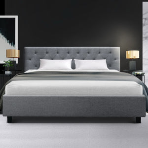 Artiss King Size Bed Frame Base Mattress Platform Fabric Wooden Grey VANKE -  (excl- NT, Regional QLD & WA, FNQ, NT & WA Remote)