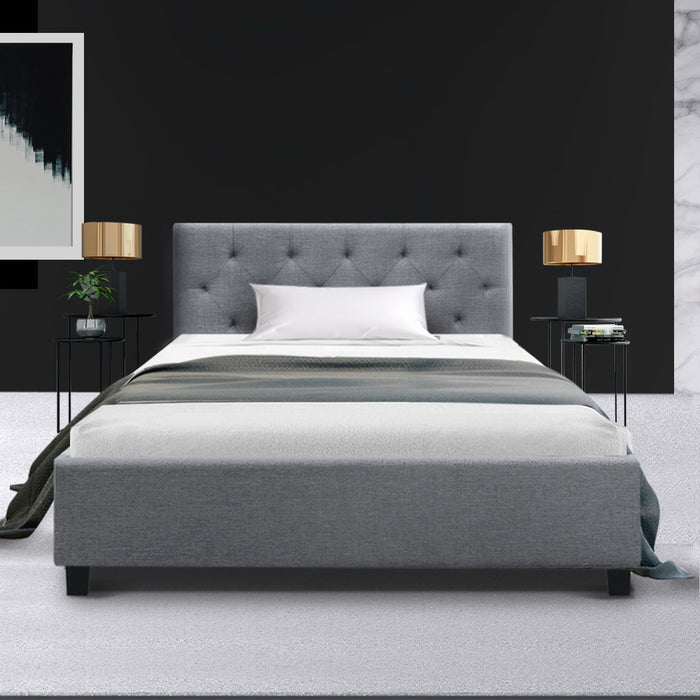 Artiss VANKE King Single Size Bed Frame Base Fabric Headboard Wooden Mattress (excl-Regional QLD & WA, FNQ, NT & WA Remote)