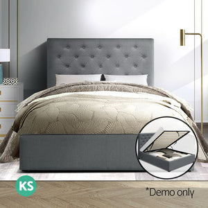 Artiss VILA King Single Size Gas Lift Bed Frame Base With Storage Mattress Grey Fabric (Not available in NT or any remote/regional areas)