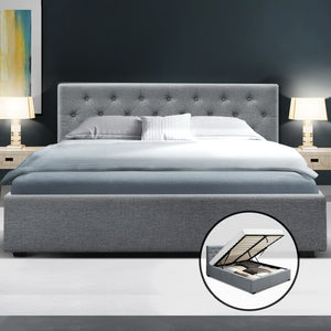 Artiss Double Full Size Gas Lift Bed Frame Base Mattress Platform Fabric Wooden Grey WARE - (excl-Regional QLD & WA, FNQ, NT & WA Remote)