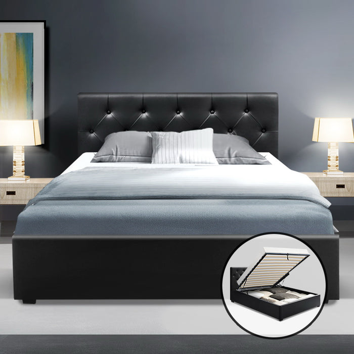 Artiss King Single Size Gas Lift Bed Frame Base Mattress Platform Leather Wooden Black WARE (excl-Regional QLD & WA, FNQ, NT & WA Remote)