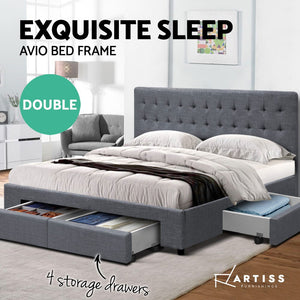 DOUBLE Bed Frame with 4 Storage Drawers AVIO Fabric Headboard Wooden - (Not available in TAS, WA & NT or any remote/regional areas)