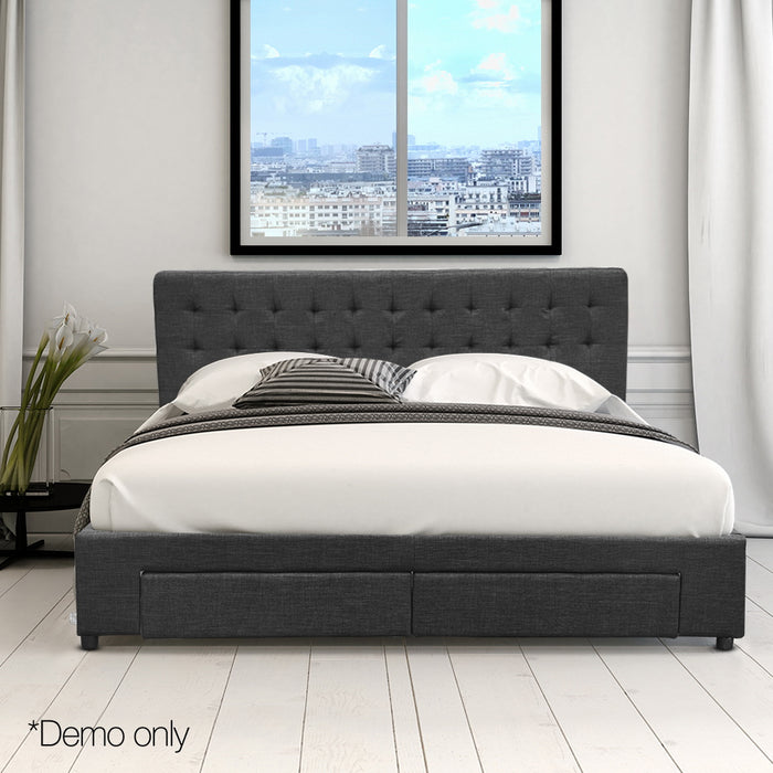 Queen Fabric Bed Frame with Storage Drawers Dark Grey (Not available WA, NT and Far NQ)