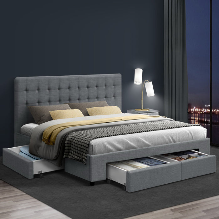 QUEEN Bed Frame with 4 Storage Drawers AVIO Fabric Headboard Wooden - (VIC NSW SA & ACT only)