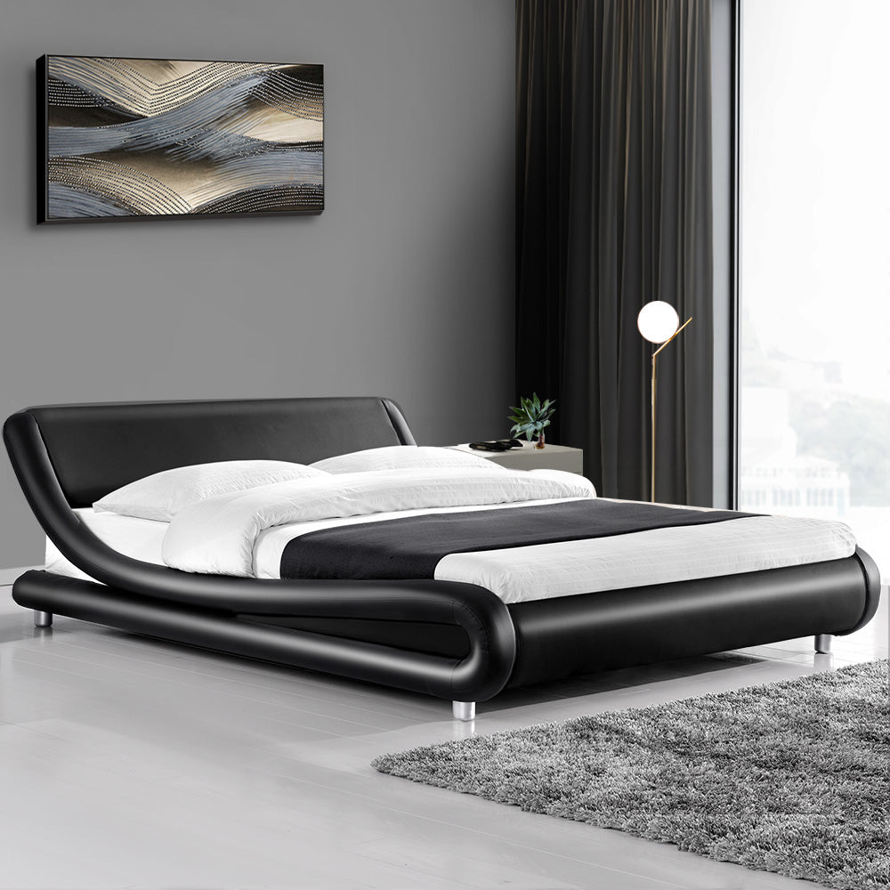 PU Leather Bed Frame King Black -(Not available WA, NT and Far NQ)