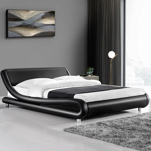 PU Leather Bed Frame Queen Black - (Not available in TAS, WA & NT or any remote/regional areas)