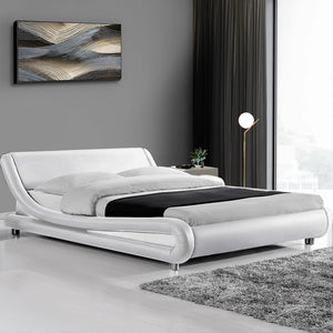 PU Leather Bed Frame Queen White - (Not available WA, NT and Far NQ)