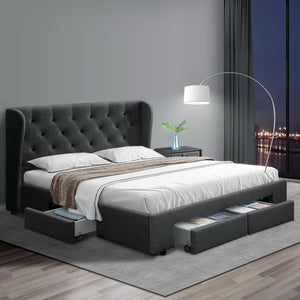 Artiss Double Full Size Bed Frame Base Mattress With Storage Drawer Charcoal Fabric MILA - (Only available in VIC, NSW, SA & ACT)