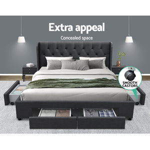 Artiss Queen Size Bed Frame Base Mattress With Storage Drawer Charcoal Fabric MILA - (Only available in VIC, NSW, SA & ACT)