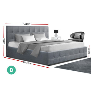 Artiss ROCA Double Full Size Gas Lift Bed Frame Base With Storage Mattress Grey Fabric - (Only available in VIC, NSW, SA & ACT)