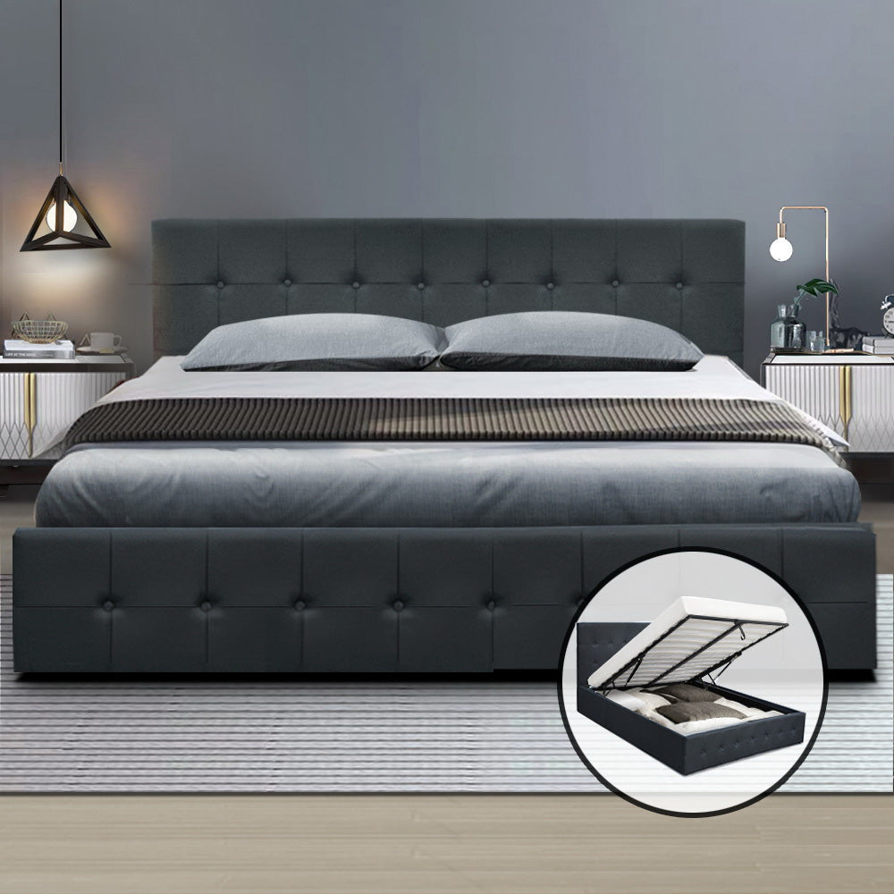 Artiss Gas Lift Queen Bed Frame -Charcoal (Not available in NT or any remote/regional areas)