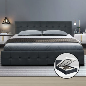 Artiss Gas Lift Queen Bed Frame -Charcoal (excl-Regional QLD & WA, Far Nth QLD, NT & WA Remote)