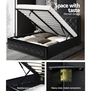 Artiss Tiyo Gas Lift Bed Frame - Double - (Not available in QLD, TAS, WA & NT)