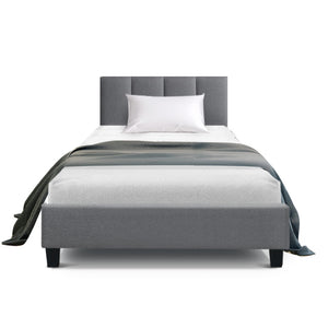 Bed Frame Single Size Base Mattress Platform Fabric Wooden ANNA Grey (excl-Regional QLD & WA, Far Nth QLD, NT & WA Remote)