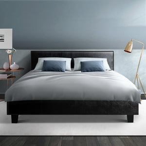 Bed Frame Double Size Base Mattress Platform Full Size Leather Wooden Black NEO