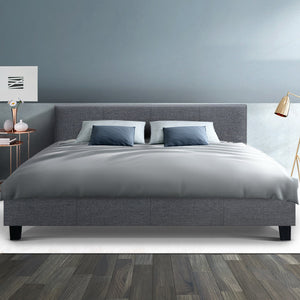 Bed Frame King Size Base Mattress Platform Full Size Fabric Wooden Grey NEO