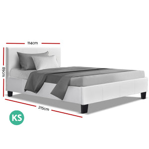 Bed Frame King Single Full Size Base Mattress Platform Leather Wooden White NEO (excl-Regional QLD & WA, Far Nth QLD, NT & WA Remote)