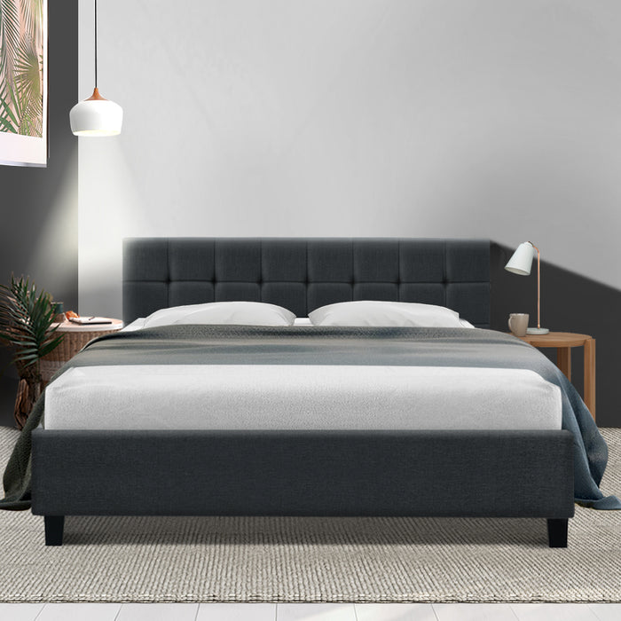 Bed Frame King Size Base Mattress Platform Fabric Wooden Charcoal SOHO (Not available in NT or any remote/regional areas)