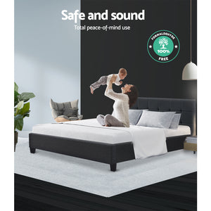 Bed Frame Queen Size Base Mattress Platform Fabric Wooden Charcoal SOHO - (Not available in NT or any remote/regional areas)