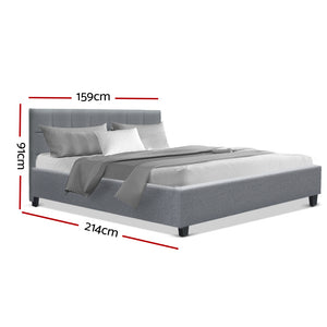 Bed Frame Queen Size Base Mattress Platform Fabric Wooden Grey SOHO (Not available in NT or any remote/regional areas)