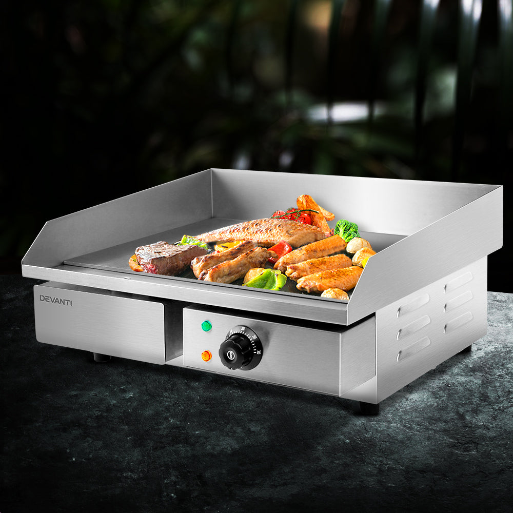 Devanti 3000W Electric Griddle Hot Plate - Stainless Steel (excl-Regional QLD & WA, Far Nth QLD, NT & WA Remote)