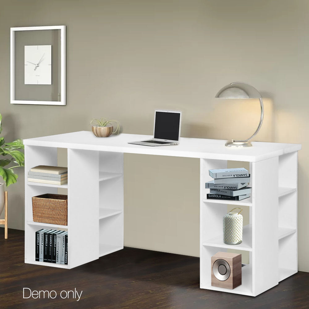 Computer Desk with 3 tier Storage Shelves White - exclude WA NT & FNQ