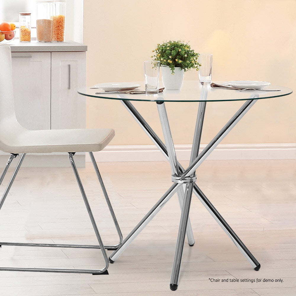 Artiss Round Dining Table 4 Seater 90cm Tempered Glass Clear Chrome Steel Legs Cross Cafe Kitchen Table