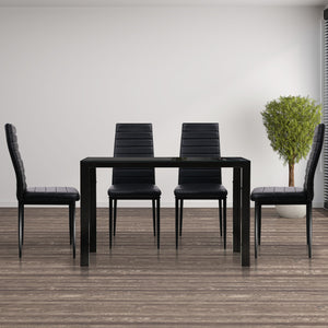 Artiss Astra 5-Piece Dining Table and Chairs Sets - Black - (Not available in WA & NT)