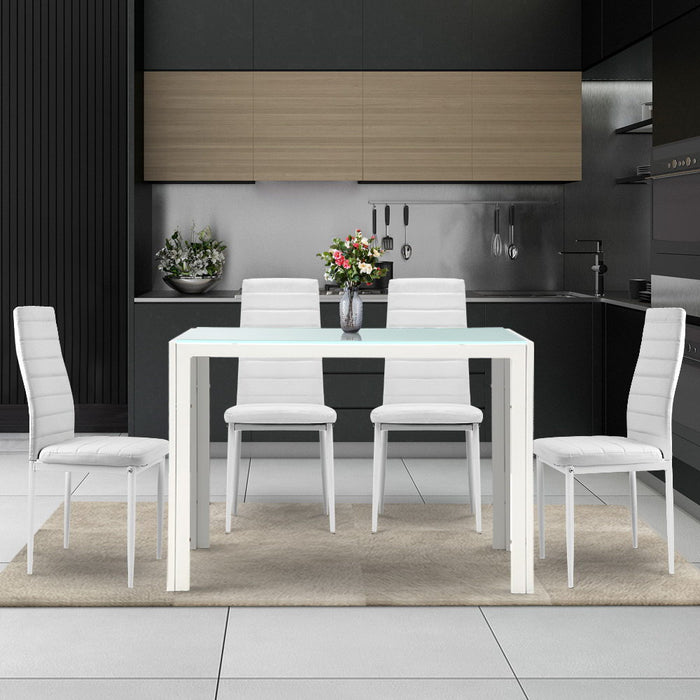 Artiss 5 Piece Dining Table Set - White - (Not available in WA & NT)