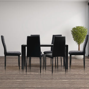 Artiss Astra 7-Piece Set Tempered Glass Dining Set Table and 6 Chairs Black (Not available in TAS, WA, NT or Regional QLD & Far Nth QLD)