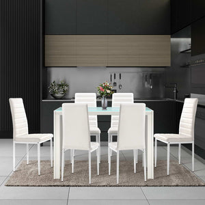 Artiss Astra 7-piece Dining Table and Chairs Dining Set Tempered Glass Leather Seater Metal Legs White (Not available in TAS, WA, NT or Regional QLD & Far Nth QLD)