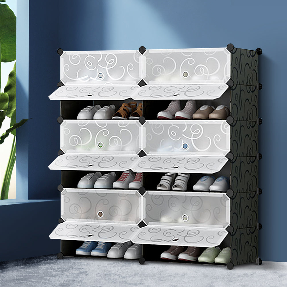 12 Cube DIY Stackable Shoe Rack Storage Cabinet - Black & White (excl-Regional QLD & WA, Far Nth QLD, NT & WA Remote)