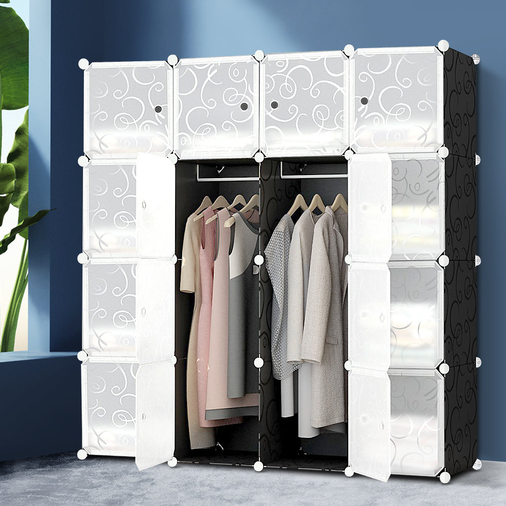 16 Stackable Cube Storage Cabinet Black and White