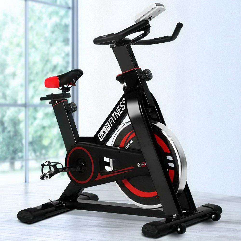 Everfit Spin Exercise Bike Cycling Fitness Commercial Home Workout Gym Black (Not available in TAS, WA, NT or Regional QLD & Far Nth QLD)