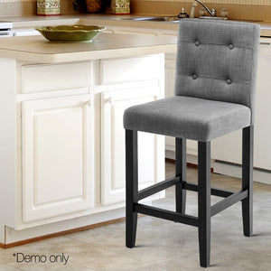 Artiss Set of 2 French Provincial Bar Stools - Grey
