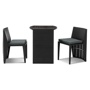 3-piece PE Wicker Outdoor Table and Chair Set