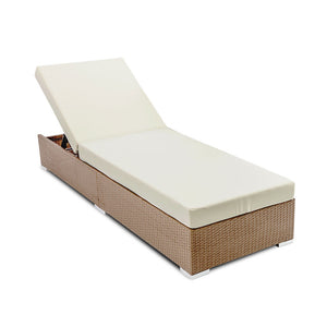 Wicker Sun Lounger with 3 Cover Sets -  Brown