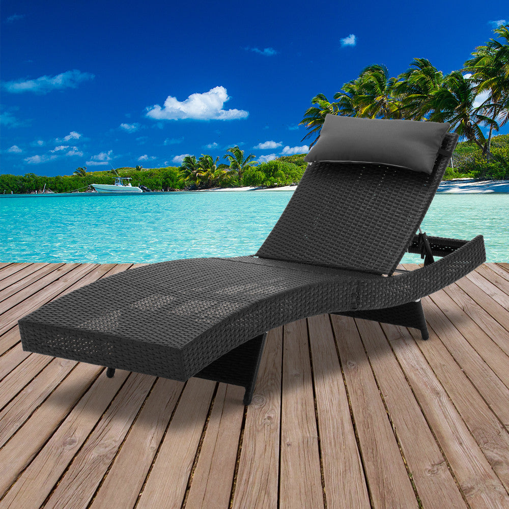Wicker Outdoor Sun Lounger - Black