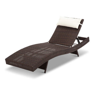 Wicker Outdoor Sun Lounger - Brown
