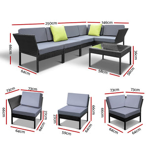 Gardeon 6PC Sofa Set Outdoor Furniture Lounge Setting Wicker Couches Garden Patio Pool