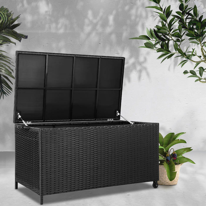Wicker Outdoor Storage Box Black - (excl-Regional QLD & WA, Far Nth QLD, NT & WA Remote)