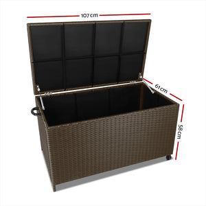 Wicker Outdoor Storage Box Dark Brown - (excl-Regional QLD & WA, Far Nth QLD, NT & WA Remote)