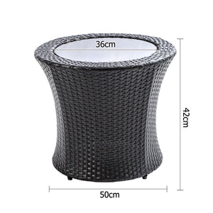 Stackable 4 pcs Black Wicker Rattan 2 Seater Outdoor Furniture Set Grey