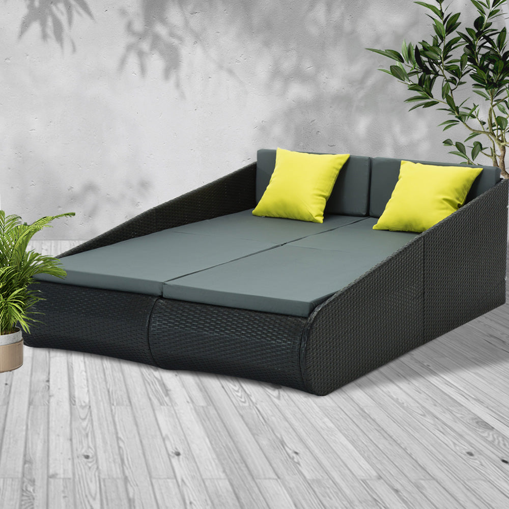 2-person Outdoor PE Wicker Daybed (Not available in NT or any remote/regional areas)