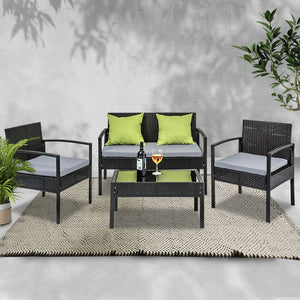 4 Seater Outdoor Furniture Lounge Setting Wicker Chairs Table Rattan Lounger Bistro Patio Garden Cushions Black - (Not available in QLD, TAS, WA & NT)