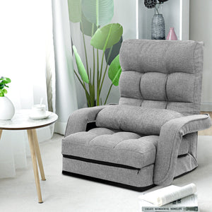 Artiss Lounge Sofa Armchair Floor Recliner Chaise Linen Light Grey