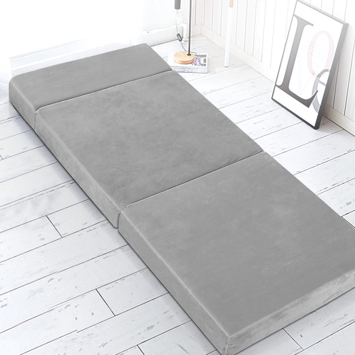 Giselle Bedding Folding Foam Mattress Portable Sofa Bed Lounge Chair Velvet Light Grey