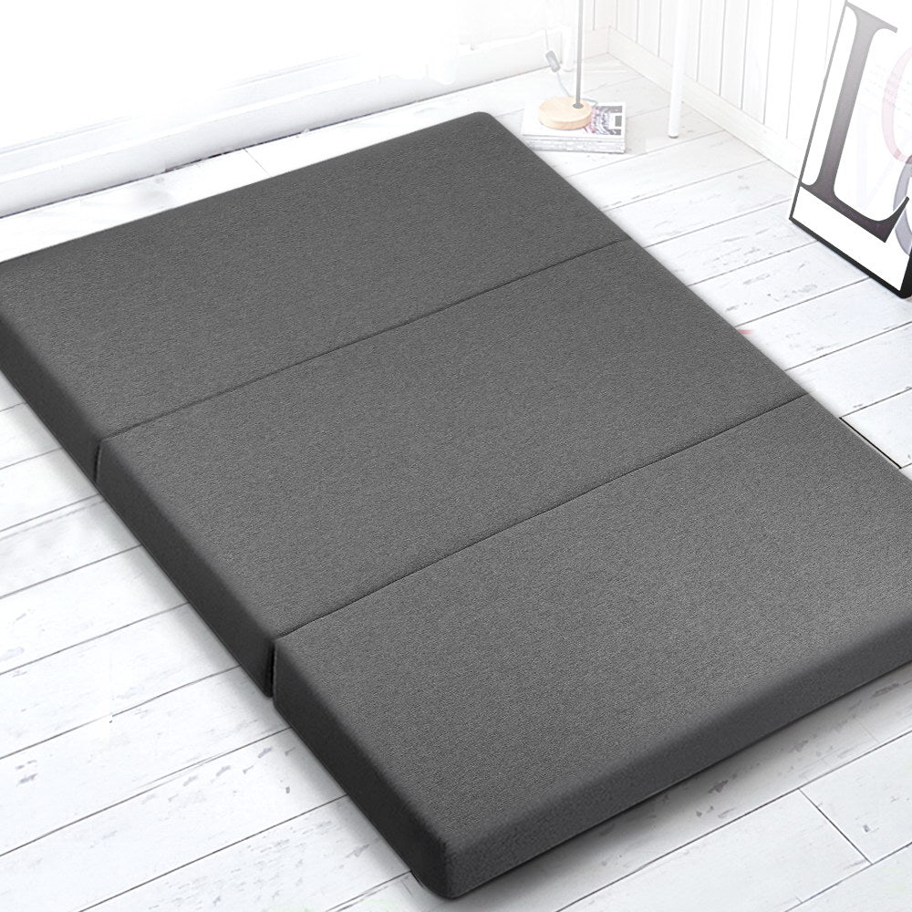Giselle Bedding Double Size Folding Foam Mattress Portable Bed Mat Dark Grey